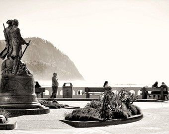 Seaside Statue photo, sepia, black, and white, fine photography prints, Journey's End