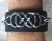 Black Leather Cuff Bracelet -  Silver Link Cuff Bracelet - Leather Cuff Adjustable Bracelet - Leather Jewelry - Trendy Bracelet