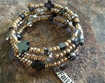 Cross Bracelet - Faith Bracelet - Wire Wrap Bracelet - Spiritual Bracelet
