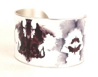 Ink Blot Test Cuff Bracelet, Rorschach, Psychology, History Jewelry