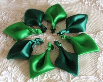 8 Handmade Ribbon Leaves (1.5x2-1/4 inch) in Emerald, Forest green MY-277-01 Ready To Ship