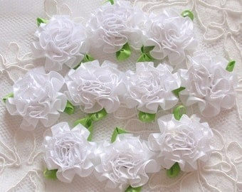 10 Handmade Flowers With Leaves (1-1/4 inches) In White MY-296 -01 Ready To Ship