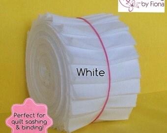 "Jelly Roll 20 x 2.5"" White PreCut Roll Fabric Strips, 2.5 inch x WOF, die cut, Cotton"