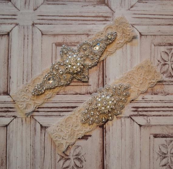 SALE Wedding Garter Rhinestone And Pearl By SpecialTouchBridal