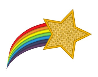 Shooting Star Rainbow Tail Embroidery Machine Design