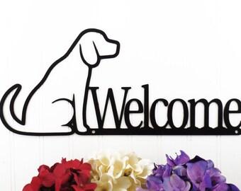 Dog Welcome Metal Sign - Black, 16.25x7, Dog, Welcome, Welcome Metal Sign, Door Sign, Door Decoration, Plaque, Sign