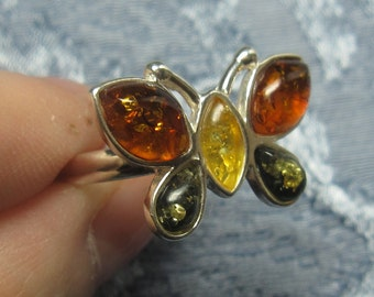 Tri-Color Amber Butterfly Sterling Ring Sizes 6 & 8 1/4