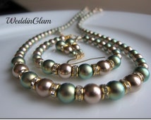Wedding jewelry set,  Bridesmaid Green champagne brown jewelry. Peacock theme Wedding Jewelry, Iridescent green pearl bracelet