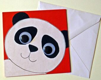 Handmade greeting card, Cute panda birthday handmade greeting card, Animal Greeting Card, Black and white panda bear card
