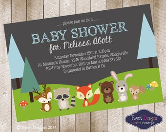 WOODLAND BABY SHOWER Invitation, Printable Birthday Invitation, Woodland Forest Animals Invitation,Woodland Animals Baby Shower Invitations