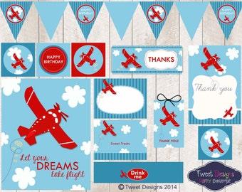 PLANE PARTY Printable, Instant Download Plane Printable, Plane Party, Plane Printable, 1st Birthday Plane Party Printable, Red Plane Party