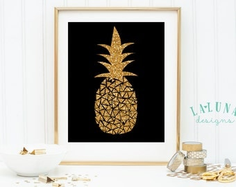 Pineapple Print, Pineapple Wall Art, Pineapple Art, Pineapple Decor, Gold Glitter