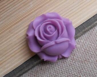 6 pcs of resin rose bud cabochon-25x26x12mm-RC0453-6-lilac
