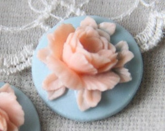 12 Pcs of Resin flower cabochon 18mm-RC0135-9-peach on blue