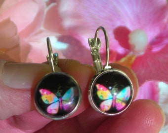 Multicolor BUTTERFLY glass dome silver tone lever back earrings.