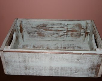 Handmade Reclaimed Wood Crate - Sea Green - Distressed Barnwood Storage Crate