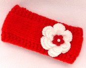 HALF PRICE SALE Baby girl hand knitted red 6-12 months ear warmers / headband /photo prop