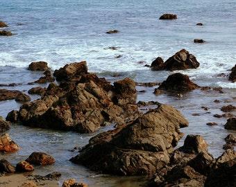 Rocks On The Beach,Pacific Ocean,California,Ocean,Seashore,Shore,Beach,Seascape,Print,Photography,Canvas Art
