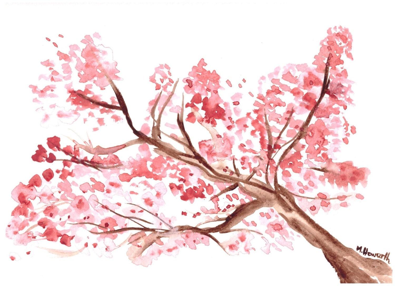 Aquarelle peinture fleur de cerisier art art japonais fleur - Dessin fleur de cerisier ...