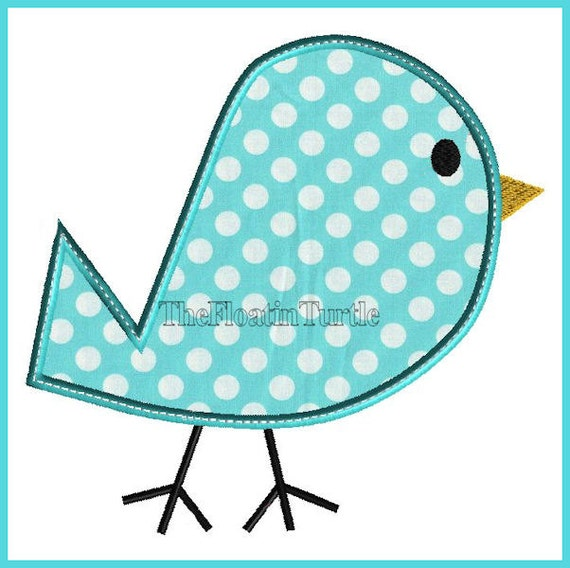 Easter bird applique embroidery design