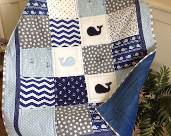 "Little Whale Blue & Gray quilt- CRIB size 38"" x 46"""