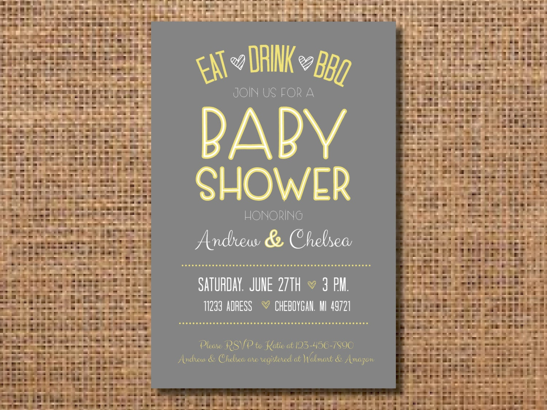 BBQ Baby Shower Invitation, Yellow Gray Baby Shower Invitation, Co-Ed Baby  Shower, Barbeque Shower Invitation, Baby-Q, Gray Yellow Printable