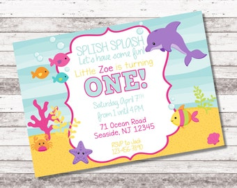 Girl's Under the Sea Birthday Invitation - 1st 2nd Birthday Invitation - Digital Invite - Under the Sea Theme Party - Girl Birthday Invite