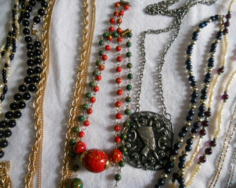 Lot of Vintage Necklaces with seed beads, faux pearls, glass beads, silvertone, goldtone, satin, plastic