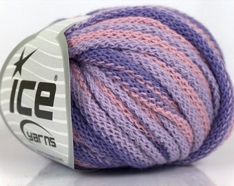 Destash SALE ICE YARN Frilly Lilac, Shades or Lilac and Light Pink, Pack of 4 balls