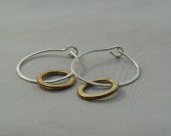 silver and brass hoop earrings