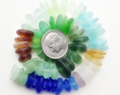 Genuine Sea Glass Beads, Center Drilled Seaglass, Beach Glass Beads, 8mm to 12mm, Full or Half Strand, Spacer, QUALITY B