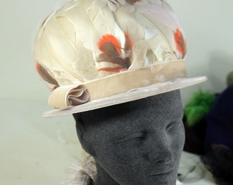 Pretty Vintage Taupe Brown & Orange Feathered Lady's Formal Feather Fashion Hat