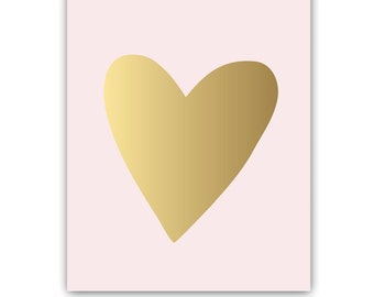 Golden Heart Gold Foil Wall Art Print 8x10 inches