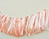Big 5ft Ribbon tie wedding garland,Peach wedding decor,Peach cream wedding garland,nursery peach decoration,Peach baby shower banner,peach
