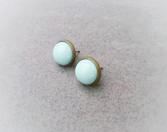 Mint stud earrings,Brass mint studs,mint posts,mint jewelry