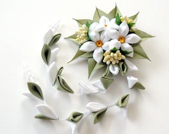 Kanzashi Fabric Flowers hair clip with falls.  White and green kanzashi hair clip.