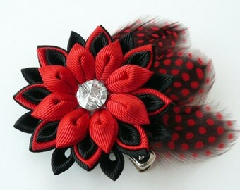 Kanzashi fabric flower hair clip with feathers. Red and black hair clip. Hair clip with feathers. red hair clip with feathers.