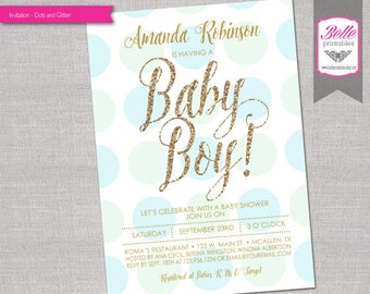 Baby Shower Invitation - Dotted and Gold Glitter- DIY Printable - Blue & Green