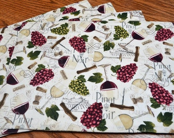 Placemats, Set of 4, Wine motif, Tablemats, Dining table mats, Kitchen table mats, Ready to ship