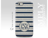 iPhone 6 Case iPhone 4 Case iPhone 5 Case iPhone 5s Case iPhone 5c Case Samsung Galaxy Case - silver and navy striped ( Not Actual Glitter)