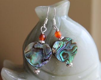 Heart Shape Abalone Earrings with Orange Faceted Agate, sterling silver hook