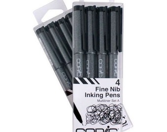 Copic Markers Multiliner Fine Pigment Based Ink, 4-Piece Set