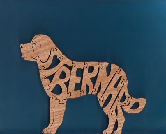 St Bernard Red Oak Puzzle Cut On Scroll Saw