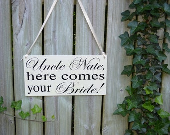Here Comes the Bride wood wedding sign for Ring Bearer Flower Girl