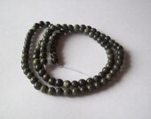 Russian Serpentine Beads (natural), 4mm, Round, D Grade, Mohs 2 1/2 to 5, 15 inch Strand, Dark Green Beads, Serpentine Beads #4296