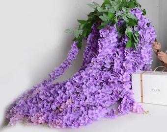 "Light Purple Silk Wisteria Garland 64"" Lavender Artificial Silk Wisteria 5PCS For Home Garden Hanging Flowers Plants Wedding Vine Decor"