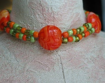 Orange Bracelet, Green Bracelet, Lime Green Bracelet, Bright Orange Lime & Orange Seed Bead Bracelet Bright Orange Marbled Glass Bracelet