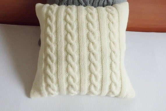 ivory cable knit pillow cover throw pillow custom hand knit. Black Bedroom Furniture Sets. Home Design Ideas