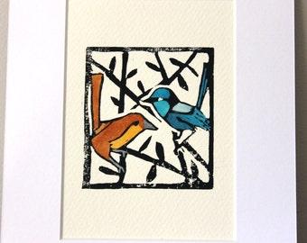 Superb Blue Wren original linocut print