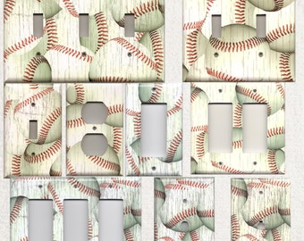Distressed Baseball/Baseballs Light Switchplates and Wall Outlet Covers Home Decor Accents Decora Light Switch Plates
